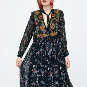 Zara Bohemian Maxi Dress Embroidered Floral